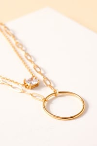 Glass Stone Ring Charms Layered Necklace - Back