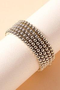 Metal Beaded Cross Charm Bracelet - Back