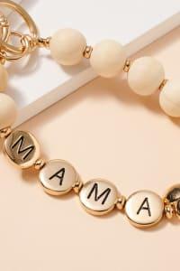 Mama Inspirational 15 MM Wood Beaded Key Chain - Back