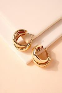 Layered Metal Hoop Earrings - Back