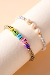 Inspirational Pearl Stones Bracelet Set - Back