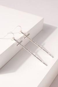 Metal Cross Dangling Earrings - Back