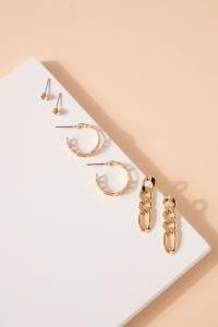 Set of Metal Chain Drop Earrings, Hoops and Rhine Stone Stud Earrings - Back