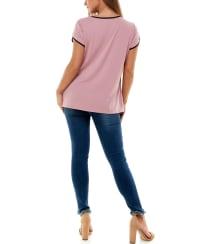 Adrienne Vittadini Short Tulip Sleeve Tee - Back