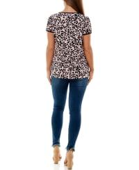 Adrienne Vittadini Short Sleeve Tee with Asymmetrical Neck - Back