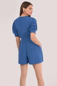 Blue Wrap Playsuit - Back