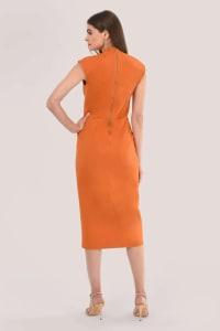 Orange Pleated Wrap Pencil Dress - Back