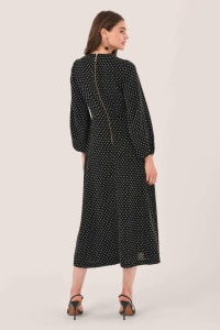 Black Gathered Neck A Line Midi Dress - Back