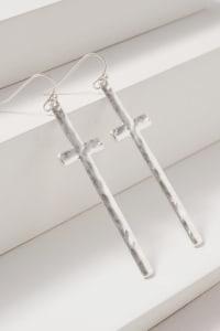 Cross Dangling Metal Earrings - Back