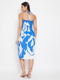 Floral Rose Print Short Tube Dress - Back