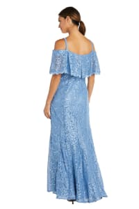 Off The Shoulder Glitter Sequin Lace Empire Gown - Back