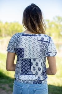 Patchwork Tie Front Peasant Blouse  - Misses - Off white/Navy - Back
