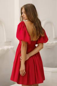 Strawberry Fields  Puff Sleeve Linen Mini Dress - Plus - Red - Back
