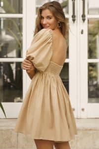 Strawberry Fields  Puff Sleeve Linen Mini Dress - Plus - Weekend Beige - Back