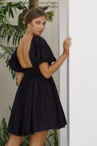 Strawberry Fields  Puff Sleeve Linen Mini Dress - Plus - Black - Back