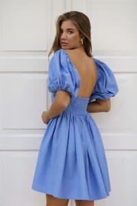 Strawberry Fields  Puff Sleeve Linen Mini Dress - Plus - Caribbean Blue - Back
