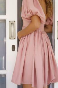 Strawberry Fields  Puff Sleeve Linen Mini Dress - Plus - French Rose - Back