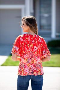 Roz & Ali Floral Border Cold Shoulder Bubble Hem Blouse - Misses - Back