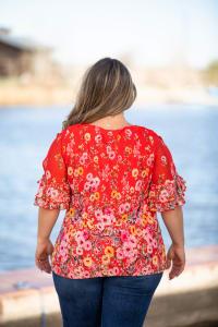 Roz & Ali Floral Border Cold Shoulder Bubble Hem Blouse - Plus - Back