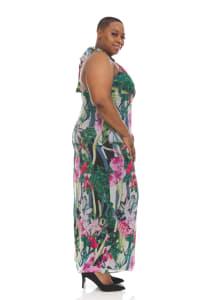 Tropical Print Maxi Dress - Plus - Back