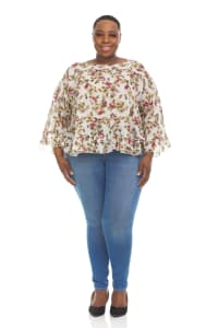 Printed Boho Top with Wide flared 3/4 Sleeves - Plus - Back