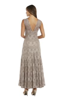 Sequined Lace Gown with Sheer Inserts - Back