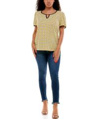 Adrienne Vittadini Short Sleeve with Keyhole Tee - Back