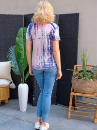 Pink Tie Dye Cold Shoulder Top - Back