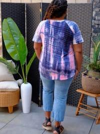 Pink Tie Dye Cold Shoulder Top - Plus - Back