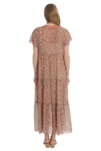 Alissa V-Neck Polyester Tiered Maxi Dress - Back
