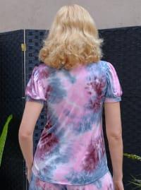 Pink Tie Dye Puff Sleeve Top - Back