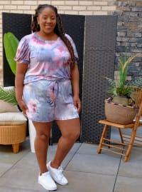 Pink Tie Dye Drawstring Short - Plus - Back