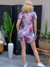 Pink Tie Dye Drawstring Short - Misses - Back