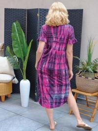 Pink Tie Dye Keyhole Dress - Misses - Back