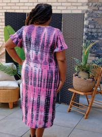 Pink Tie Dye Keyhole Dress - Plus - Back