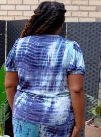 Blue Tie Dye Puff Sleeve Top - Plus - Back