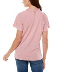 Adrienne Vittadini Flutter Sleeve High Neck Top - Back