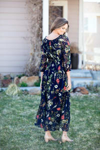 Sydney Navy Lace Floral Maxi  Dress - Misses - Back