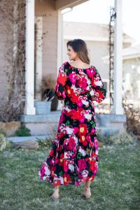 Veronica Blurred Floral Print Peasant Dress - Back
