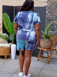 Blue Tie Dye Drawstring Short - Plus - Back