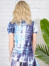 Blue Tie Dye Puff Sleeve Top - Back