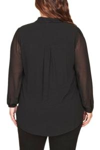 DR2 Sheer Button-Down Blouse - Plus - Back