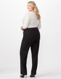 Roz & Ali Secret Agent Pull On Tummy Control Pants - Short Length - Plus - Black - Back