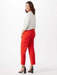 Drawstring Ankle Length Cargo Pants - Tomato - Back
