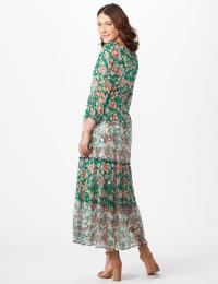 Chiffon Mixed Print Peasant Dress - Green/Pink - Back