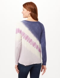 Long Sleeve Tie Dye Tie Front Knit Top - Blue/Lilac/White - Back