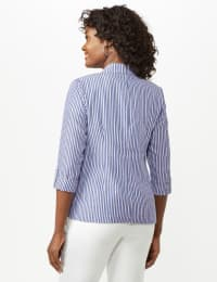 Seersucker Striped Topper - Blue /White - Back