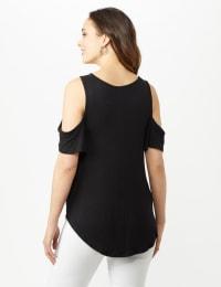 Cold Shoulder Knit Top - Black - Back
