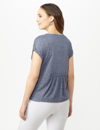 Button Front Texture Knit Top - Denim Blue - Back