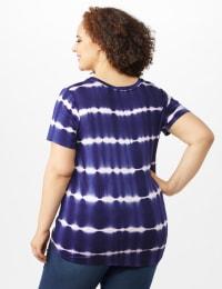 Short Sleeve Stripe Tie Front - Navy - Back